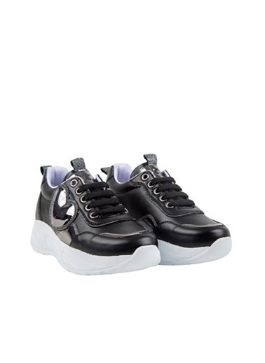 Kids A More A Bağcıklı Kalp Detaylı Deri Kız Ayakkabı  Siyah